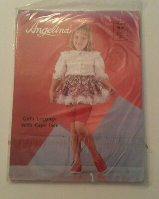 New Girls Angelina White Leggings with Capri Lace Size 1-3 S