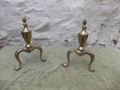 Vintage Georgian Style Fire Dogs Andirons Fire Accessories Brass & Iron