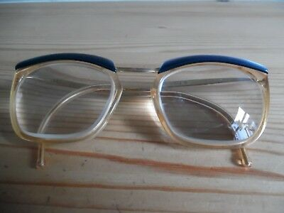 Vintage AMOR Pearly Blue Over Eye Glasses 135 840 Made in France