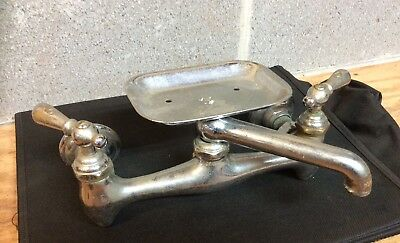 "Vintage Faucet w/Soap Dish Holder...Chrome Over Brass...8"" Center...CENTRAL"