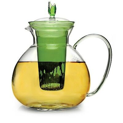 Primula 60oz Glass Teapot w/Glass Infuser and 2 Flowering Teas, Green