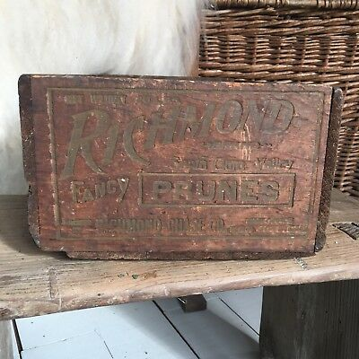 Vintage Prunes Crate Wood Shipping Box Rustic Farmhouse Old Antique