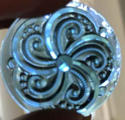 STEEL BLUE 35mm Swirl Textured Glass Jewels (6) for Stained Glass