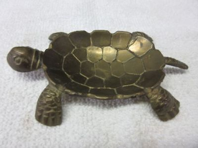"""Vintage Cast BRASS SEA TURTLE Nautical Trinket Jewelry Coin Soap Dish 4 7/8"""""""