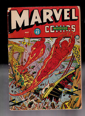 Marvel Mystery 43 WWII Schomburg cover Submariner Torch Married Rough spine