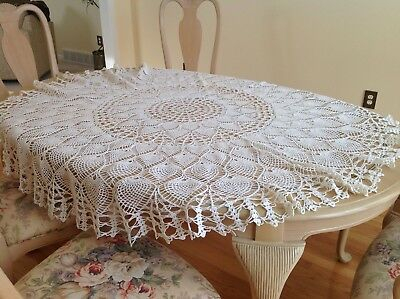 "Vintage 1940s Ecru Crochet 64""x64"" Round Heirloom Handmade Tablecloth"