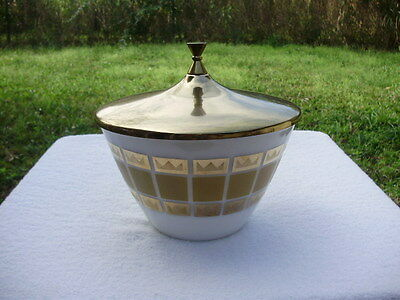 Vintage Fire King Milk Glass Bowl W/Metal Lid Gold Crown Design Band FRED PRESS