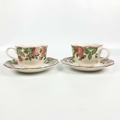 Nikko Tableware Precious Pattern 9303 2 Cup 2 Saucer Set Roses Floral Scalloped