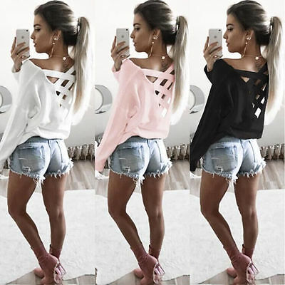 Womens Lace Up Back Cross T-Shirt Tops Long Sleeve Casual Pullover Blouse Shirts