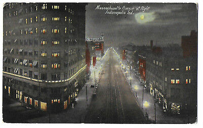 Indianapolis, IN, Massachusetts Avenue at Night, Birds Eye View, pm 1912