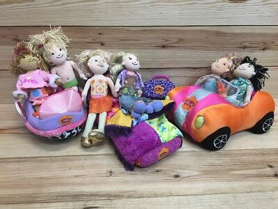 Groovy Girls Lot Car Bed Space Ship 6 Dolls Dog House Plush Girls Toys Play Kids