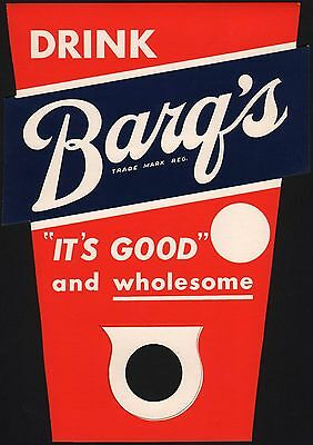 Vintage soda pop bottle topper DRINK BARQS ITS GOOD root beer unused n-mint cond