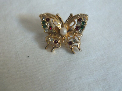 Collectible Gold Tone Scarf Clip Butterfly Colorful Rhinestones Faux Pearl 1""