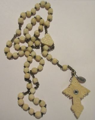 Antique France Hand Carved Bone Stanhope Rosary, French Bone Rosary Souvenir
