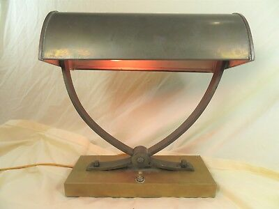 Unique Antique ARTS & CRAFTS Mission Vintage Brass Bankers Desk Library Lamp