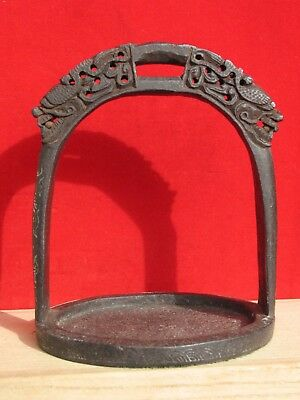Antique Chinese Hand Chiseled Cast Iron Dragon Stirrup w Silver Dragon Inlay