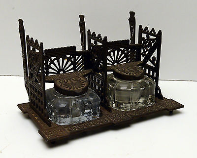 Antique Inkwell Double Eastlake Victorian  Amazing Piece!