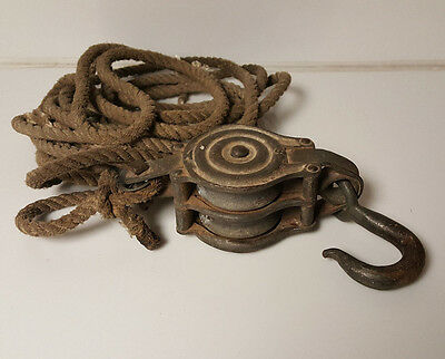 Vintage Block and Tackle Pulley Steel includes rope