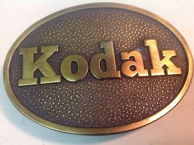 Vintage Heavy Solid  Brass KODAK Belt Buckle Excellent Condition