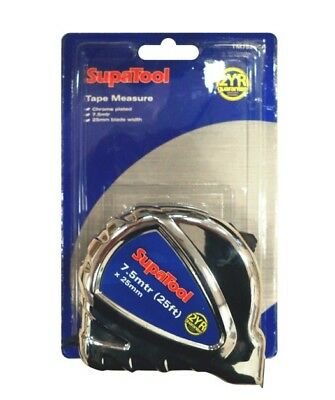 SupaTool Chrome Finish Tape Measure 7.5m x 25mm