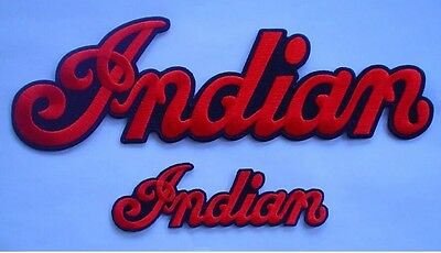 "Indian Motorcycle Embrd ""script"" Patches (2) ~ Large & Small ~ Iron/sew ~ New"