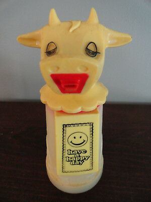 """Vintage WHIRLEY COW  """" Have A Happy Day """"  Milk Cream Yellow Dispenser Pitcher"""