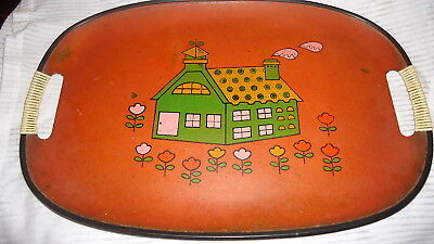 Vintage or Antique Mache or Pressed Wood/Paper Snack/Serving Tray Retro House