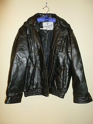 Caribou Creek!  Men's Black Lambskin Patchwork Leather Jacket! Free S&H!!!
