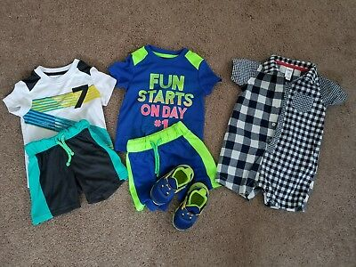 Toddler boy summer clothes lot size 18 months shorts t-shirt set romper