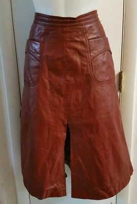 AS IS Vintage 70s Leather Skirt A-Line Pockets Size 11/12 Boho Funky Upcycle