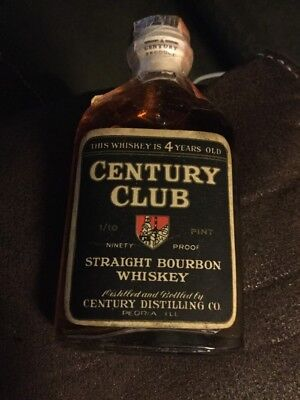 Vintage Miniature Straight Bourbon Whiskey Bottle Flask Century Club