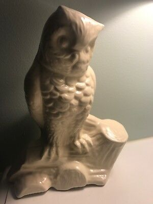 VINTAGE ANTIQUE Mc COY CERAMIC POTTERY WHITE OWL PLANTER 11 INCHES TALL