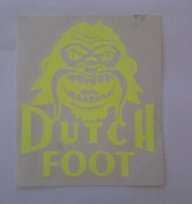 Dutch Brother Coffee Sticker ~ DUTCH FOOT ~ RARE ~ Neon Yellow ~ Big Foot ~