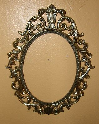 Vintage Ornate Brass Oval Wall Hanging Picture Frame ~ Italy