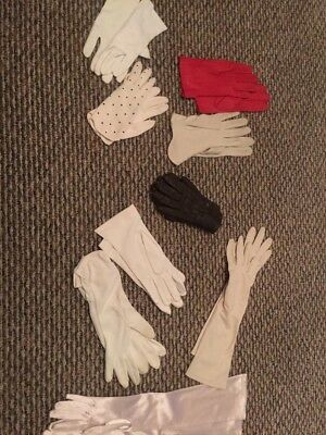 Lot Of 9 Pair Vintage Womens Gloves.
