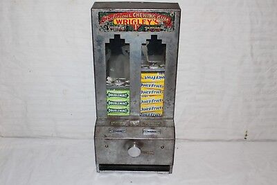Vintage 1930's Wrigley's Chewing Gum 1 Cent Penny Vending Metal Machine Sign