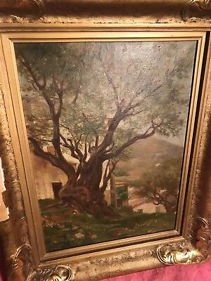 Antique Original Jules Jean Aristide Duvanel Oil Painting On Framed Canvas