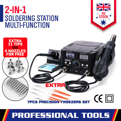 2in1 Soldering Station Solder Iron Rework & Hot Air Gun Digital SMD Desoldering