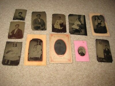 Lot of 11 Antique Tintypes Children And Various Family Photos Adrian MI