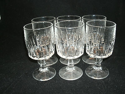 """Libbey Glass 6-5 1/4"""" WINCHESTER Clear 6 oz. Wine Glasses Goblets Vertical Cuts"""