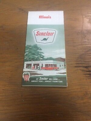 1962 Sinclair Oil Co Advertising Road Map Illinois