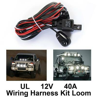 12V 40A LED HID Spot Work Driving Light Bar Wiring Kit Harness Loom Switch Relay