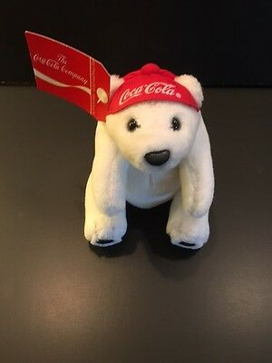 Vintage Official Coca Cola Logo Plush Polar Bear with Backwards Cap-New-Last one