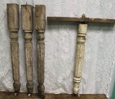 Set of 3 Salvaged Antique Vintage Chippy Paint Table Legs And Center Leg