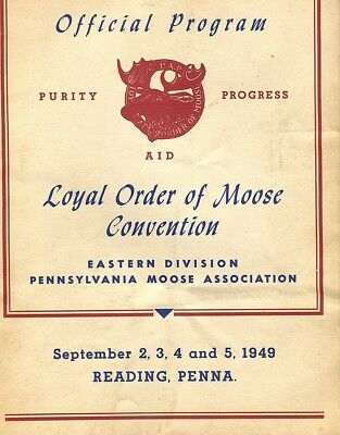 Reading,PA- Loyal Order of the Moose convention-booklet-program 1949