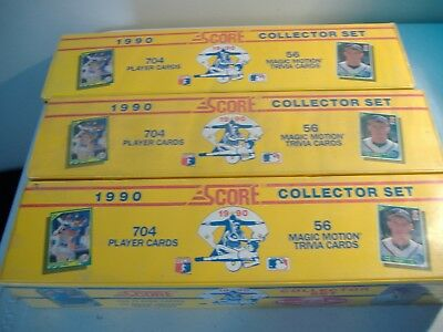 1990 Score Baseball Complete Factory Sealed Sets Lot of 3**Free Priority Ship