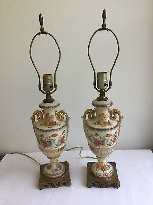 Vintage French Urn Lamps 1930s Artistic Lamp Mfg Co NYC Floral Shabby Chic