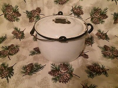 Vintage White With Blue Trim Enamelware Enamel Chamber Pot With Lid Wood Handle