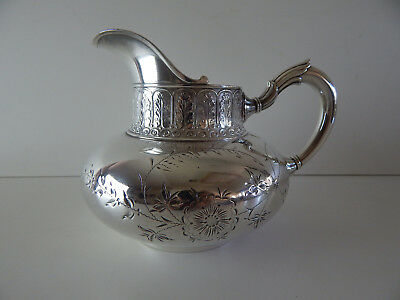ANTIQUE 125 year old QUADRUPLE silver plate milk pitcher by James W. Tufts