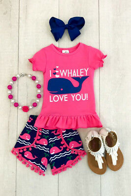 US Stock Kids Baby Girls Short Sleeve Top T-shirt Shorts Outfits Clothes Summer